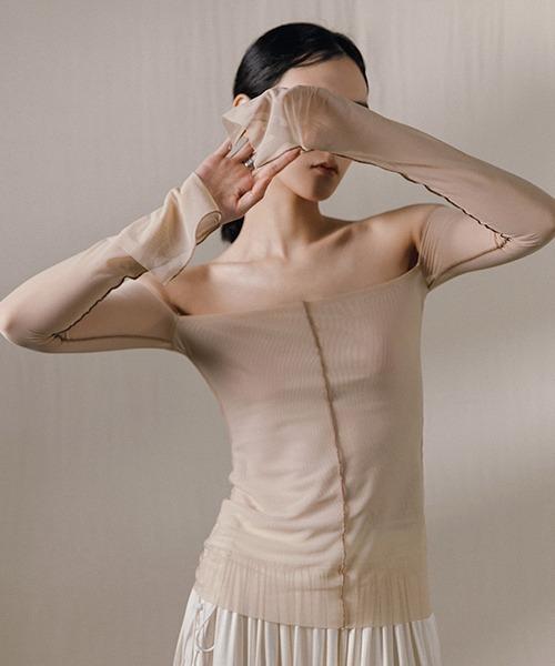 【MURMURMI】Off shoulder mesh tops chw21a017