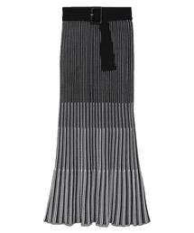 SNIDEL(スナイデル)のシャイニーベルティッドパターンスカート(スカート)