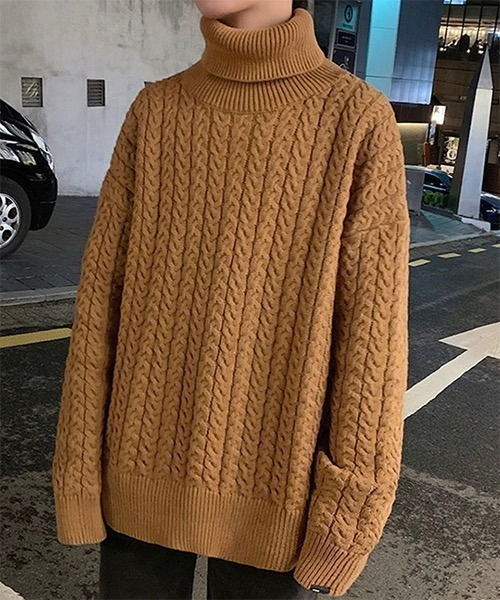 【WB ORIGINALS】【2021AW】Cable Turtle Neck Knit Sweater WO21W3TP12