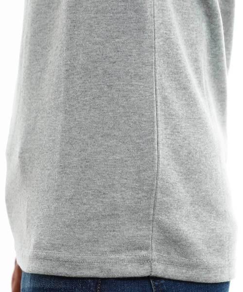 Vネックフライス7分袖Tシャツ