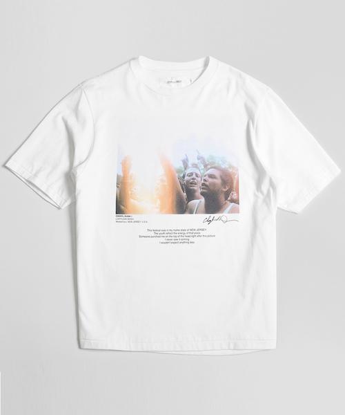 JOHN MASON SMITH / CHERYL DUNN LIGHTLEAK MOSH & PINK HAT S/S 半袖プリントTシャツ