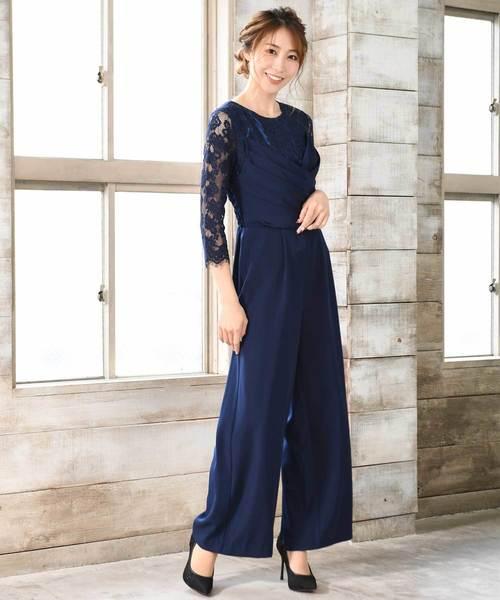 【flexin/フレキシン】 クロスドレープパンツドレス