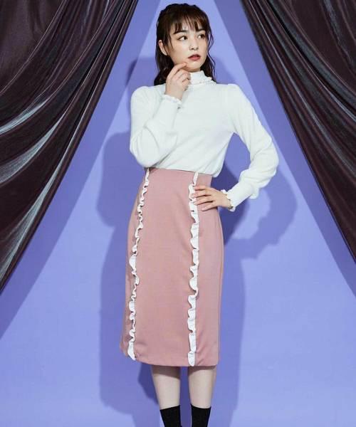 ポンチフリルタイトスカート