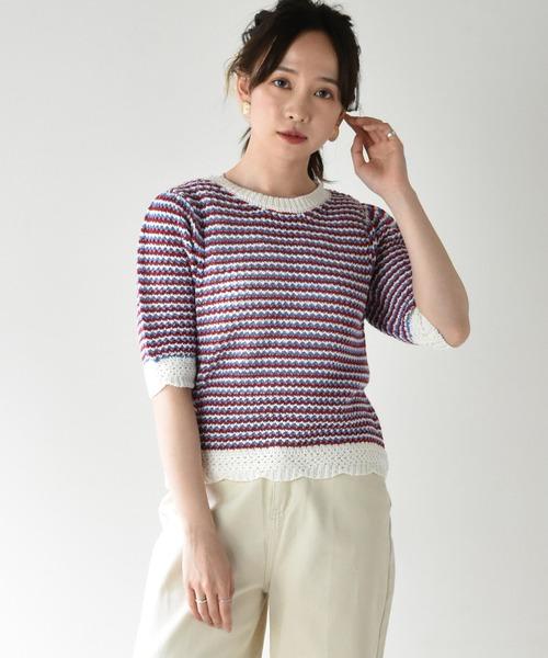 柄編み半袖ニット
