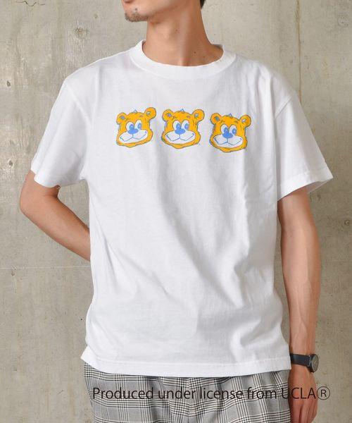 US UNIVERSITY×SHIPS JET BLUE: ビックプリントTシャツ◇