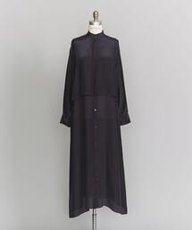 <LOEFF>シルクレーヨンレイヤードシャツドレス -ウォッシャブル-