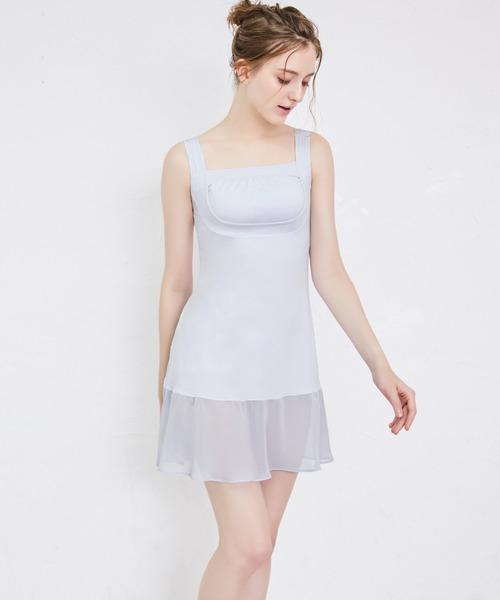 【ブラ機能付き!裾のシフォンが可愛いノンワイヤー補整スリップ】綿混楽々すっきりブラスリップ