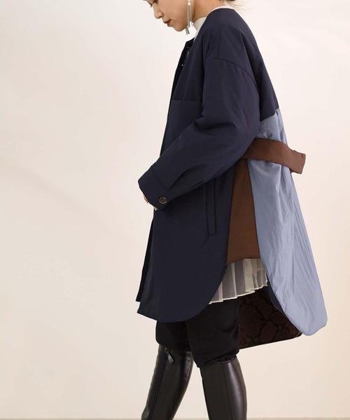 スヌード付き中綿配色ショートコート
