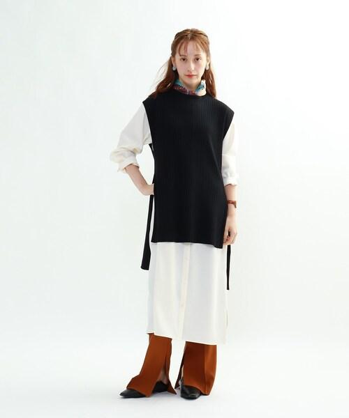 「S」【ハンドウォッシュ】ニットベスト×シャツワンピース アンサンブル