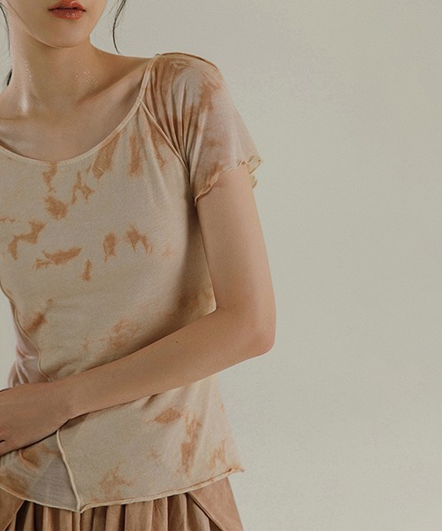【MURMURMI】Tiedye dirty print T-shirt chw21a020