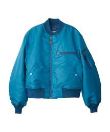 CIRCLEロゴ ショート丈MA-1ジャケットターコイズブルー