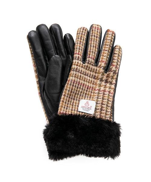 HARRIS TWEED(ハリスツイード)の「ハリスツイード×ラムレザー スマホ 手袋 レディースデザイン(リボン/ファー)(手袋)」|ブラウン