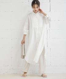 ピンタックシャツドレスオフホワイト