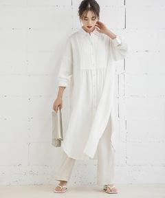 レイヤードサイドスリットピンタックシャツドレス