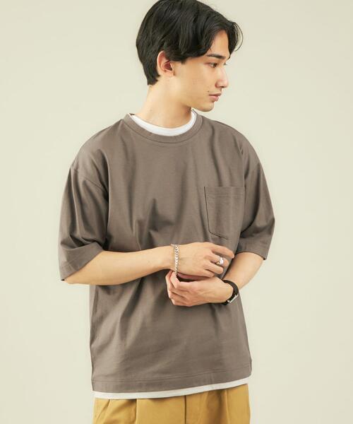 CSM コットン 麻 フェイクレイヤード 半袖 Tシャツ カットソー