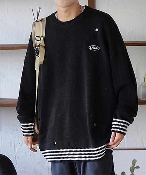 【WB ORIGINALS】【2021AW】Damaged Logo Knit Sweater WO21W3TP15