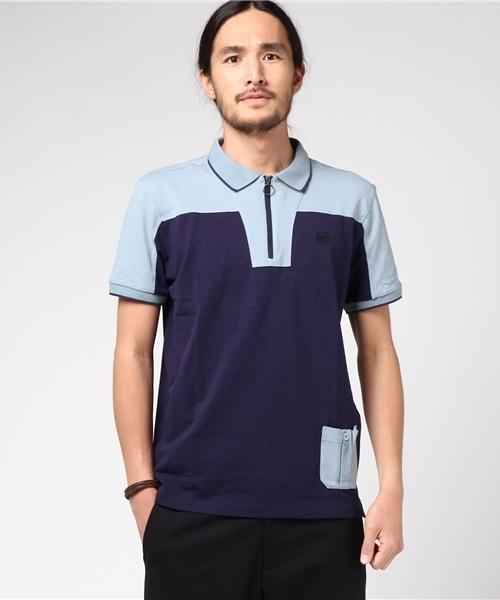 [Lowe alpine Silvermark] コットンジップアップ半袖ポロシャツ