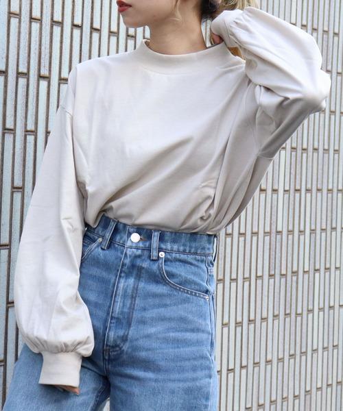 tiptop(ティップトップ)の「モックネックボリューム袖ロンT(Tシャツ/カットソー)」 アイボリー