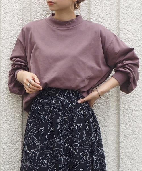 tiptop(ティップトップ)の「モックネックボリューム袖ロンT(Tシャツ/カットソー)」|ダークグレー
