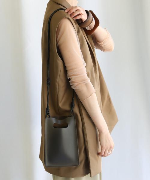 select MOCA(セレクトモカ)の「2020 S/S クリアスクエアショルダーバッグ/巾着付き透明シースルーミニバッグ(ショルダーバッグ)」|ブラック