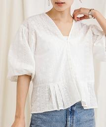 アイレット刺繍ショートブラウスオフホワイト