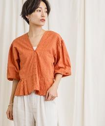 アイレット刺繍ショートブラウスオレンジ