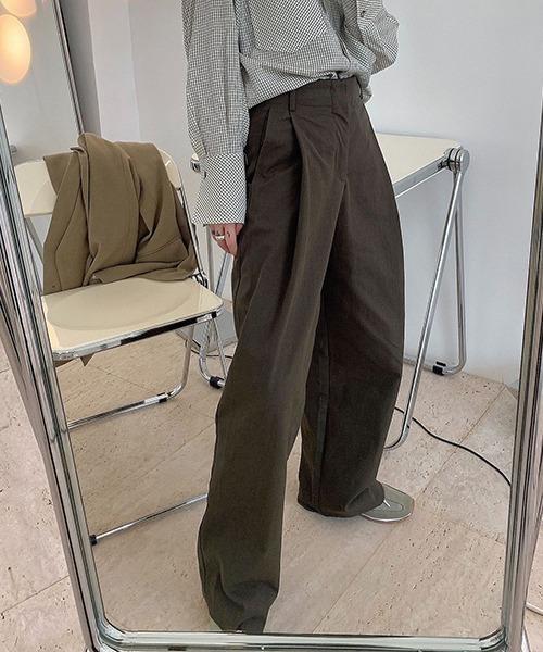 【chuclla】【2021/AW】Deep tack cotton wide pants chw21a078