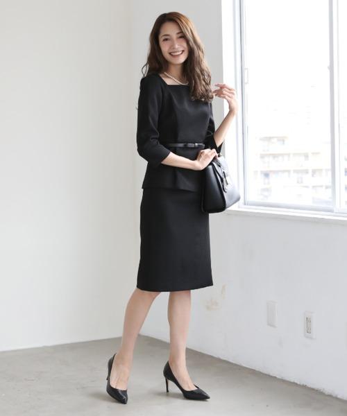 DRESS LAB(ドレスラボ)の「スクエアネック スカート セットアップ フォーマル スーツ ベルト付き【3点セット】結婚式 ブラックフォーマル 喪服(セットアップ)」|ブラック