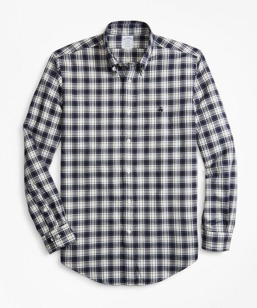 コットン GF ブラッシュドオックスフォード チェック ボタンダウンシャツ Regent Fit