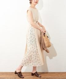 natural couture(ナチュラルクチュール)のサイドプリーツおしゃれAラインワンピース(ワンピース)