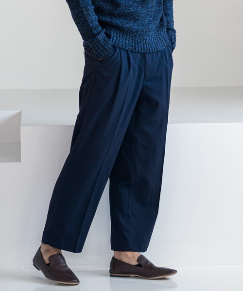 mp8212-Stretch TR Two Tuck Straight Pants  パンツ