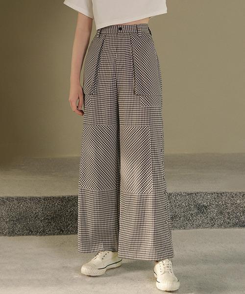 【chuclla】【2021/AW】Black and white plaid pattern pants chw1569
