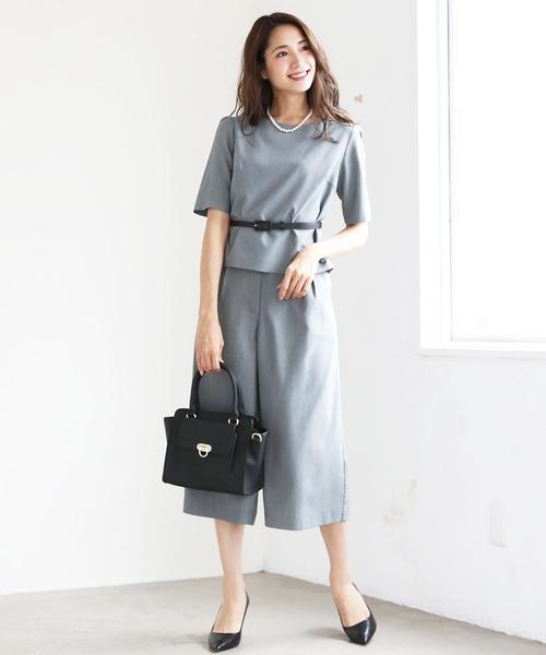 DRESS LAB(ドレスラボ)の「ガウチョパンツ セットアップ フォーマル スーツ ベルト付【3点セット】結婚式 ブラックフォーマル 喪服(スーツセット)」|グレー
