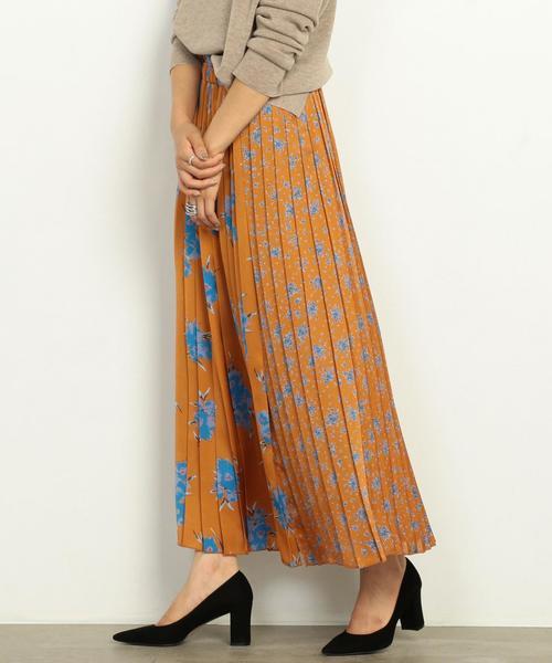 BY∴ フラワーパッチプリーツロングスカート ◆