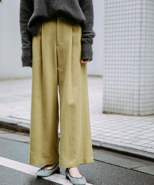◆SC フラノ ハイウエスト ワイド パンツ