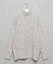 <AURALEE>NEPPED CABLE TURTLE NECK PULLOVER/ニット.