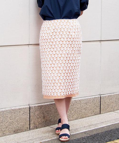 PICCIN(ピッチン)の「スターレース×ギンガムチェックスカート(スカート)」|オレンジ