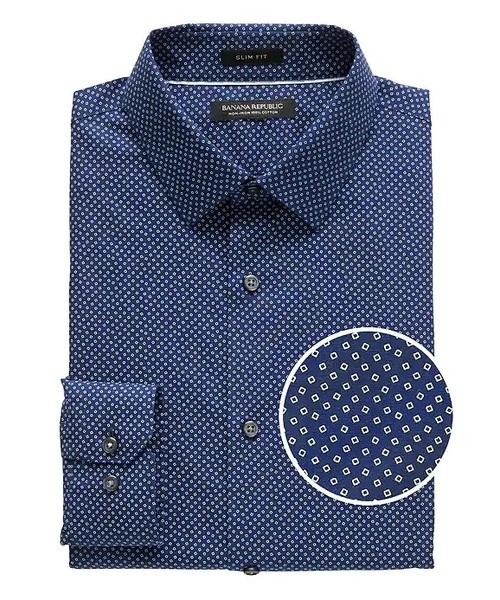 Grant Slim-Fit ノンアイロン コンフェッティプリント ドレスシャツ