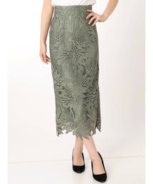 MERCURYDUO(マーキュリーデュオ)のリーフ柄ケミカルレースタイトスカート(スカート)