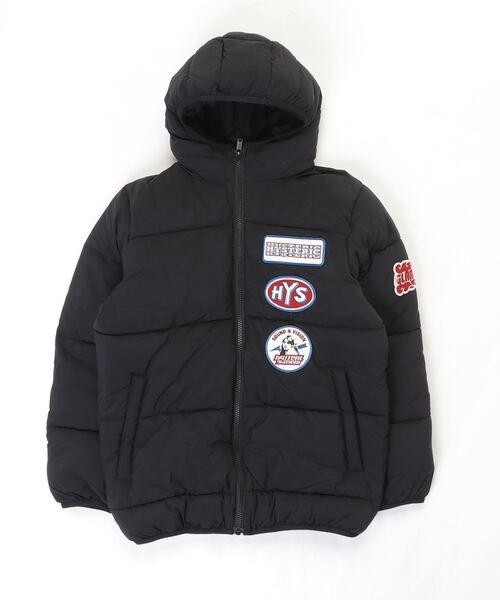 プリマロフトナイロンタフタワッペン付きフーデットジャケット【L】