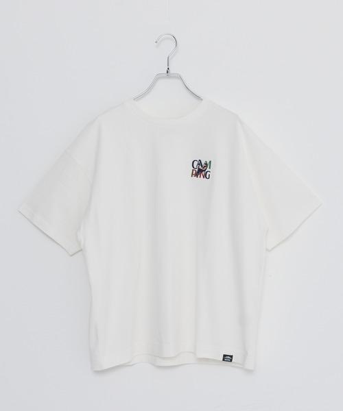 USAコットン ヘビーウェイトCAMPモチーフワンポイント刺繍Tシャツ
