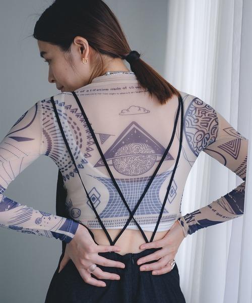 【chuclla】【2021/AW】Geometric pattern long sleeved T-shirt chw21a002