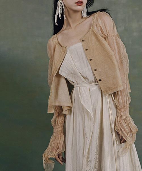 【MURMURMI】Tulle sleeve nocolor jacket chw21a025