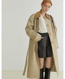 【Fano Studios】【2021AW】Contrasting color lapel coat FQ21W037ベージュ
