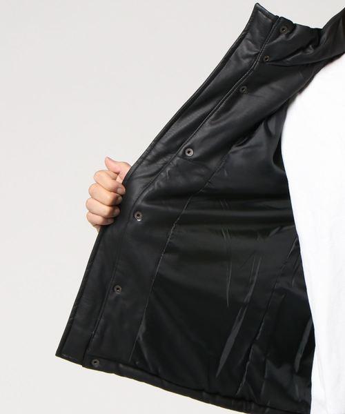 フェイクレザー中綿ジャケット
