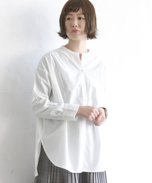 コットンバンドカラーシャツ