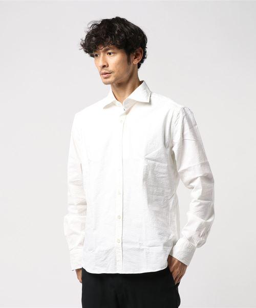GIANNETTO / 別注 シアサッカー ワイドカラーシャツ