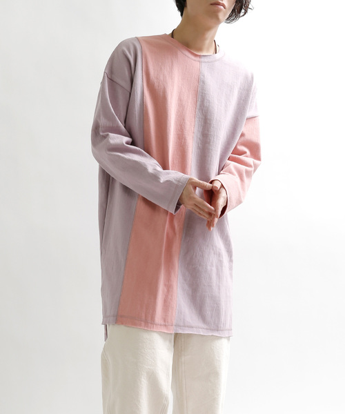 カットオフ配色Tシャツ
