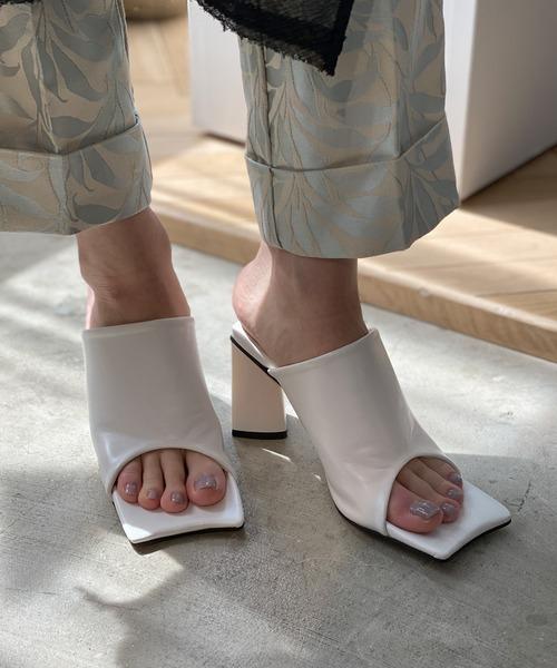 【chuclla】【2021/SS】Curve square toe mule sandal chs142