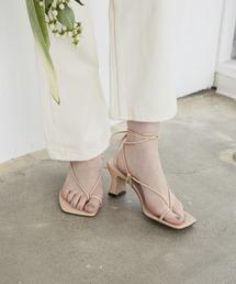 lace up heel sandalベージュ